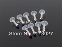 Wholesale Min order Body Jewelry Internal bio plastic labret with jewel ball Lip Rings mm Mixed Colors