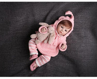 Wholesale handmade babies knitting sweaters hooded sweatshirt pants infant crochet outfits toddler girl boy outwear child spring autumn clothes