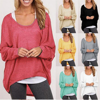 Wholesale Fashion Women s Girl s Spring Autum Tops Blouses Shirts Knit Sweater Cotton Blend Baggy Jumper Batwing Loose Pullover Y011