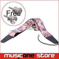bass guitars uk - Rock you Genuine Leather End Strap with UK flag and Cartoon Pattern for Electric Guitar Bass Pink Free guitar strap locks