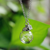 Wholesale 2016 new arrival charmful RealReal Dandelion Seed Wish bottle Necklace best Dandelion Necklace gift