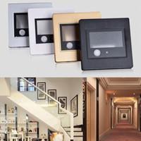 Wholesale 2 W AC85 V LED Human Body Light Sensor Wall Plinth Recessed Stairs Lamp Corridor Lamps Hotel Aisle Drawing Room Night Lights