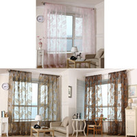 Wholesale New Hot Sheer Curtain Valances Tulle Voile Door Window Drape Panel Curtains M M Black Coffee Pink