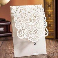 Wholesale 2016 Laser Cut White Hollow Rhinestone Wedding Invitations Wedding Supply Free Printing Birthday Invitation Lace Cards CW5001