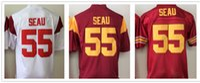 best trojan - Men Short Sports Jersey USC Trojans Red White Junior Seau Embroidery Stitching Names Cheap Jersey Best Quality