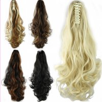 58cm largas de la moda de las mujeres de pelo sintético colas de caballo peruano de Brasil la onda del cuerpo del pelo rizado a granel clip en la cola del caballo del potro