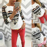 aztec print shirt - New Womens Sweatshirt Aztec Heart Long Sleeve Pullover T shirt Tops Ladies Sweats Patchwork Casual Fashion Jumper Blouse