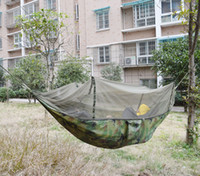 army camouflage bedding - 2 m Army Green Camouflage Portable Camping Hammocks with Mosquito Net Summer Outdoor Compact Swing Bed