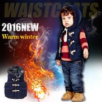 Wholesale Boys Vest Children Waistcoats Kids Thick Jacket Outfit Blue Clothe Outwear Autumn Winter Baby Boys Warm Hooded Vest Coat