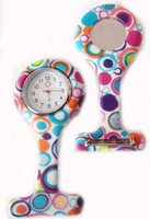 Wholesale New Silicone Colorful Prints Medical Nurse Watch Cute Patterns Fob Quartz Watch Doctor Watch pocket Watches dhl free