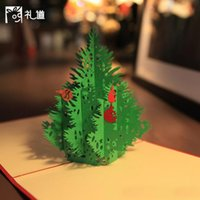 Wholesale Christmas new tree origami paper cutting art d pop up card card cubic greetings and gifts for Christmas CARDS invited to the wedding