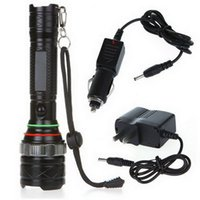 Wholesale Free Shiping Black Mode Lumens XM L T6 LED Flashlight Zoomable Torch Zoom
