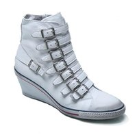Wholesale Women s Ash Genial Buckle Small Wedge Sneakers White With Red Edge Leather Mid Calf ASH Ankle Boots Sheepskin Fashion Tide ASH Trainers