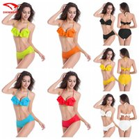 beach volleyball sets - 2016 dm068 women s fashion halter backless Ruffle vintage high waist sexy bikini set beach volleyball spa swimwear piece swim bathing suit