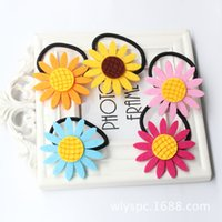 Wholesale 100pcs Colors Girls Cute Sunflower Hair Rubber Band Ring Women Headdress Circle Hair Accessories