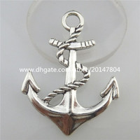 Wholesale Stylish Pendants For Men - 19470 4X Vintage Silver Alloy Boat Sailing Beach Nautical Anchor Pendant Dangle Jewelry Findings for Men Necklace Stylish