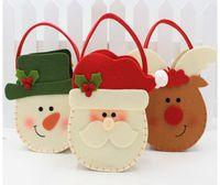 Wholesale Christmas Santa Claus Decoration Tote Bag Christmas Gift Candy Canvas Shopping Single Storage handbag Santa Claus Snowman elk