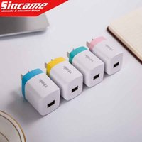 apple battery adapter - 5V Full A Color Flat Wall Charger AC Power Adapter Home Charger Battery Chargers For Cellphone Iphone Huawe Xiaomi