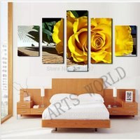 beautiful flowers pictures roses - 5 Panel Beautiful yellow roses oil painting on canvas flowers Wall Art Picture Home Decoration living room