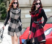 belted overcoat - 2016 plaid coat coat women Fur collar winter casaco feminino jacket manteau long femme korean coat Red coat sobretudo overcoat FS0727
