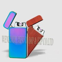 Wholesale Double fire cross twin arc pulse Electronic Cigarette lighter electric arc gold colorful charge usb lighters Including retail packaging