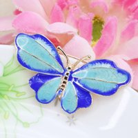 antique cloisonne beads - 5PCS Hot Sale Butterfly Wings Elegant Cloisonne Jewelry Beads Pendant Copper DIY Fitting Antique Gem x20mm