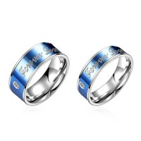 Wholesale New fashion brand high quality couple lovers blue Engagement rings letter Titanium steel diamond