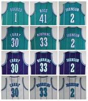 alonzo mourning - Throwback Tyrone Muggsy Bogues Jersey Larry Johnson Dell Jerseys Shirt Alonzo Mourning Glen Rice
