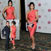 Precio de Vestidos cortos kim kardashian-Color Coral Celebrity Kim Kardashian Vestido de noche Un hombro alfombra roja corto vestido de baile Vestido de fiesta