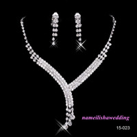bead necklace clasp - 2016 Shinning Rhinestone Bridal Jewelry Bling Beads Cheap Wedding Party Earring Bracelet Necklace Ring Jewel Set Birdal Accessories