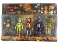Wholesale 5 Pack Inch Five Nights At Freddy s PVC Action Figure Toy Foxy Gold Freddy Chica Freddy Kids LED Lights Set
