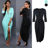 Wholesale 2016 New Arrival Autumn European and American fashion deep V neck sexy bandage nightclub ladies elegant dress