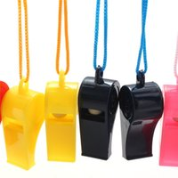 Wholesale 20pcs Plastic Whistle With Lanyard for Boats Raft Party Football Basketball soccer Sports Games referee Outdoor Survival order lt no tra