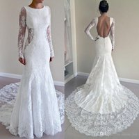 Wholesale Vintage Full Lace Mermaid Wedding Dresses Long Sleeves Cutaway Waist Open Back Spring Garden Country Bridal Wedding Gowns Real Photos
