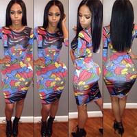 applique numbers - Fashion Number Printing Sexy applique Nightclub Skirt printed chiffon maxi Dress Night club bodycon mini elegant deep cut party dresses
