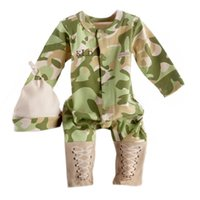 baby baseball outfits - 2016 Cool Boy outfits Baby tracksuits rompers hat set Baseball Bodysuit Long sleeve cotton camo baby clothes Autumn