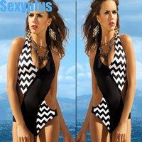 bandeau swim - Summer New Women Fashion One Piece stripe Swimming Suit Stripped Halter Bandeau Swimwear Bathing Suit
