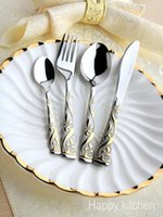 Wholesale 304 stainless steel cutlery knife and fork spoon Western cutlery set family of four gift packages