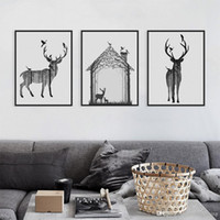 big head pictures - Nordic Vintage Black White Deer Head Animals Silhouette A4 Big Art Print Poster Wall Picture Canvas Painting No Framed Home Decor