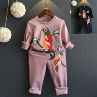 baby black bird - New Baby Girls bird Printed Casual two pieces Outfits Sets Children Long Sleeve leisure Suits Tracksuits Sportwear Kids Clothes Clothing
