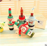 acrylic wine bottles - 2016 Christmas Wine Bottle Cover Gift Wrap Xmas Santa Claus Wine Bottle Clothes Hat Sets Christmas Decorations Festival Party Ornament