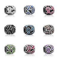 Wholesale Breast Cancer Awareness Jewelry DIY Interchangeable Pink Ribbon purple ribbon colors Charms beads Fits European Pandora Jewelry Bracelets