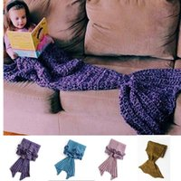 Wholesale 4 Colors Mermaid Fish Tail Blanket Knitted Handmade Children Girls Sleeping Swaddle Air Conditioning Blankets Sofa