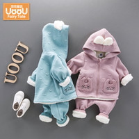 baby winner - baby girls winner clothing set Thickened cotton Hooded Long Sleeve coat Two pieces Newborn infants T