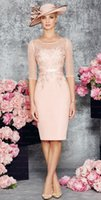 Wholesale New Style Lace Appliques Short Mother of Bride Dresses Custom Made With a Jacket Elegant Mother Evening dress Party Gowns