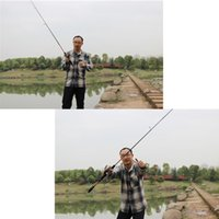 Wholesale 2 M FT Portable Fishing Pole Carbon Fiber Spinning Lure Fishing Rod Outdoor Travel Convenient Fishing Tackle Equipment