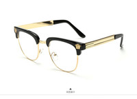 Wholesale NEW brand black gold mens semi rimless eyeglasses frames UV metal half frame clear lens glasses optical discount
