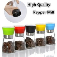 Wholesale New High Quality Best selling Glass Pepper Salt Herb Spice Kitchen Gadgets Hand Grinder Mills Manual Pepper Mills B0332