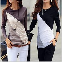 Wholesale Hot new Miss Han Ban Slim was thin stitching cotton long sleeved t shirt women s fashion hit color shirt modal