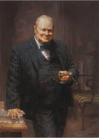 Wholesale SIR WINSTON CHURCHILL Handpainted Leader Portrait Art Oil Painting On High Quality Thick Canvas For Wall Decor in Multi Size